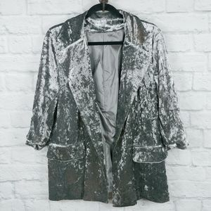 HYFVE Crushed Velvet Blazer Jacket Silver Large